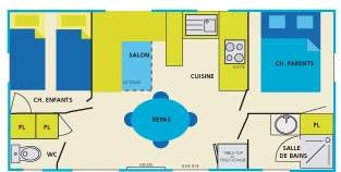 Mobilhome Flory 2 chambres 5 personnes plan